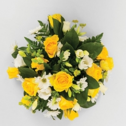 Funeral posy pad in yellow and white