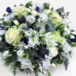 Funeral posy pad in white and blue