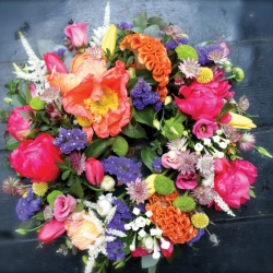 Funeral wreath in bright colours