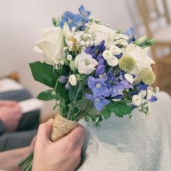 Blue, white and yellow bride bouquet