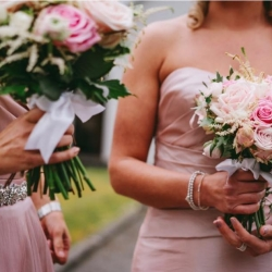 Bridesmaid bouquets in pink