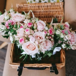 Romantic pale pink bouquets of roses